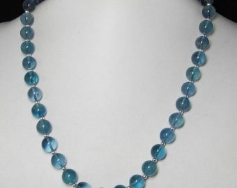 Necklace 20 inch IN blue-green Fluorite 10mm and 925 Silver