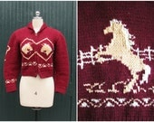 Vintage Cowichan Sweater | 1950s Bulky Hand Knit Bucking Bronco Zip Up Cardigan | Horse Equestrian Western | Size: kids, adult x-small