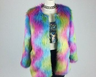 90's Rainbow Swirl Shaggy Faux Fur Jacket // S - M - L