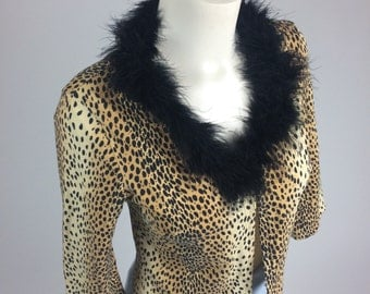 90's Valley Girl Leopard Black Feather Trim Cardigan Jacket // S - M