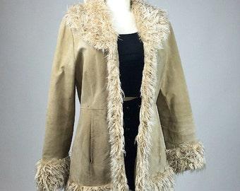 90's does 70's Suede Leather with Faux Fur Mongolian Shaggy Trim Tan Coat // M - L