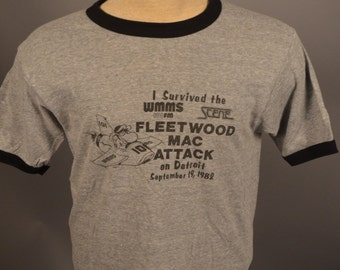 Vintage I Survived The Fleetwood Mac Attack On Detroit 82 WMMS CONCERT T SHIRT