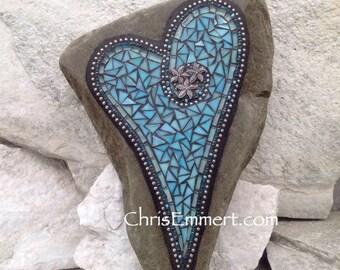 Large Iridescent Blue Mosaic Heart, Mosaic Garden Stone, Gardner Gift, Garden Decor, Mosaic Rock