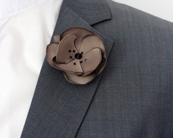 Mocca color lapel flower, Satin flower with Swarovski crystals boutonniere, lapel pin for wedding, mens lapel pin, lapel flower, size XS