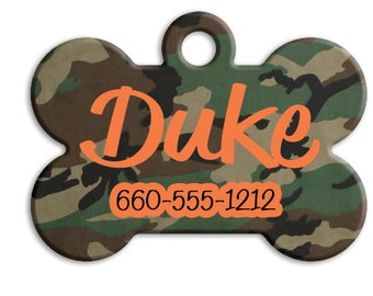 Camo Personalize Pet Tag, Dog Tag, Green Camo, Gray Camo, Pink Camo