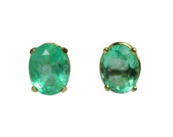 2.0tcw Colombian Emerald & Gold Solitaire Earrings 14k, Emerald Oval Studs, Emerald Stud Earrings, Yellow Gold Earrings, May Birthstone