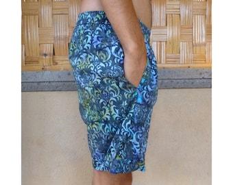 Ocean Blue Mens Shorts, Casual Blue Shorts, Mens Batik Shorts, Pull-on Style, Cuffed Mens Shorts Batik