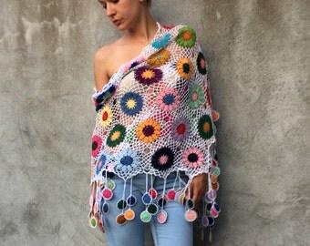 Women Accessories Colorful Crochet shawl antique white background multicolor flowers