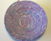 Lavender Batik Coiled Rope Bowl,  Fabric Bowl,  Catchall Basket,  Organizer Basket, Quiltsy Handmade