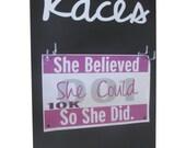 women's race bibs display