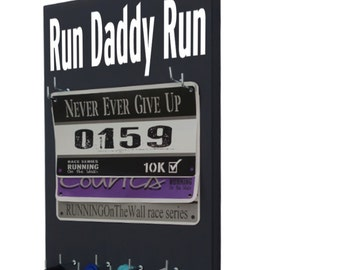 Race bibs medal holder: holder for running medal and race bibs - running medal holder - Run Daddy Run graphic