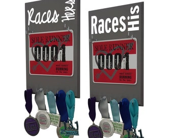 A Running Wedding gift: Race bib and medal displays for her and him