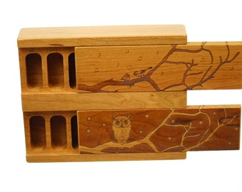 Day and Night Weekly Pill Boxes, Owl and Birds, Medium Depth, Solid Cherry Hardwood Top and Bottom