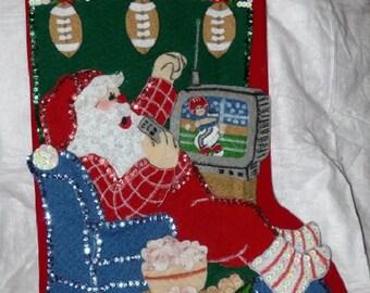 Handmade finished Santa watching football  16 inch Christmas stocking - fsk10