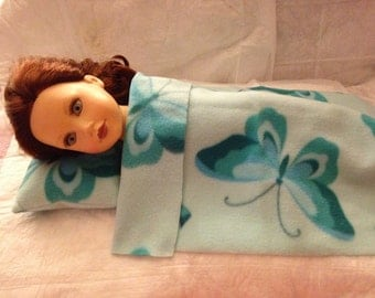Teal butterfly print Fleece blanket & pillow set for 18 inch dolls - agfb6