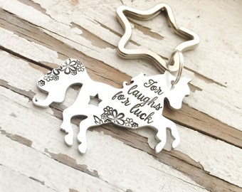 Hand Stamped Unicorn Keychain For Laughs, For Luck, For the Unknown Last Unicorn Unicorns are my spirit animal if you cant be a mermaid be a
