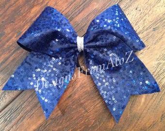 Navy Sequin Sparkle Cheer Bow
