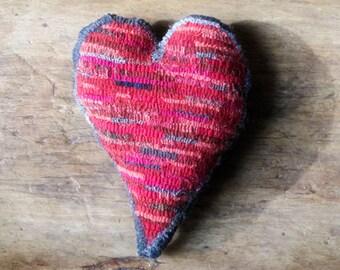 Primitive Hooked Rug Red Heart Sachet Bowl Filler