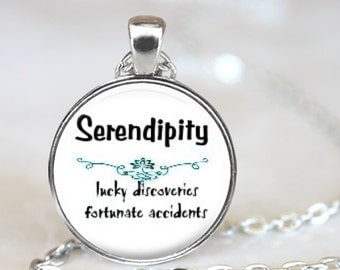 Serendipity..Lucky Discoveries, Fortunate Accidents..Lotus Flower..John Cusack..Movie Quote..Glass Pendant, Necklace or Key Ring