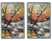 WINTER SUNRISE (2) Vintage Single Swap Playing Cards Paper Ephemera Scrapbook