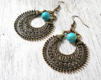 ethnic earrings gypsy earrings bohemian earrings turquoise chandelier earrings turquoise earrings  boho earrings bronze gemstone jewelry
