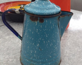 Blue Enamelware COFFEE POT ~VINTAGE attached lid ~Small one~Time worn~!Granitware~Primitive~Kitchen