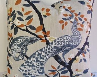Decorative pillow cover-Robert Allen designer pillow-Plume Redux -BOTH SIDES-midnight-peacocks-floral-botanical-woodland-throw pillow-birds