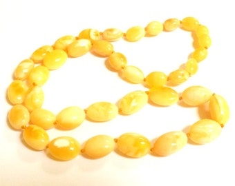 """Baltic Amber Necklace Butterscotch Olive Beads Natural Milky Untreated 20"""" 18.4 gram"""