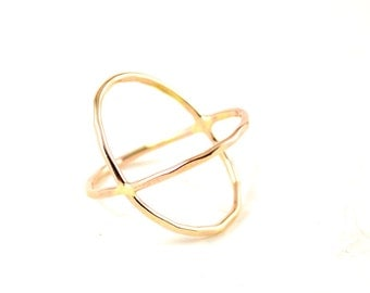 Gold filled Criss cross ring - X ring, 14k gold filled - modern cross ring - statement ring - crisscross ring - gift for her
