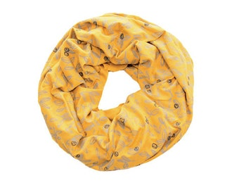 INFINITY SCARF - Screen Printed - Gray Berries on Mustard Yellow