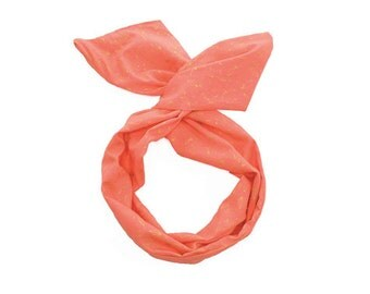 Twist Hair Scarf - Screen-printed Wire Headband - Gold Leaves on Coral