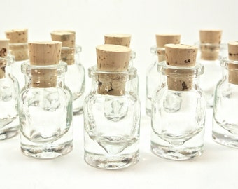 10 Mini Glass 2 ml Bottles with Corks for DIY Wedding & Shower Favors, Potion Bottle, Pendants, Perfume, Samples, Collectibles