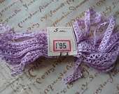5 metres exquisite antique French fine lavender mauve lace c1900 unused original label perfect for dolls clothes