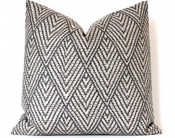 Gray and Tan Geometric Stitch Decorative Designer Pillow Cover Accent Throw Cushion modern diamonds dark grey charcoal neutral beige natural