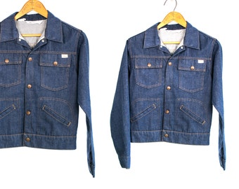 Vintage 1970's Super Denim Sports Outerwear JC Penney No Iron Jacket with Snap Buttons Up Front Country Western Unisex Size XS Small Vtg Vg