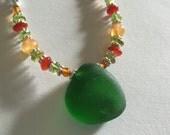 Genuine Sea Glass Jewelry Kelly Green Necklace Sterling Silver Carnelian Peridot Citrine Amber