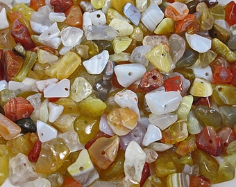 Assorted Agate Chip Beads, Drilled, Jewelry Making, Beading, Crafts, Mosaic, Findings, Supplies, 5-10 mm, 6 Ounces, DIY