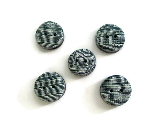 Buttons,Round Blue Striped Buttons, Handmade Round Blue Striped Buttons,