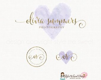 watercolor heart logo premade logo photography logo gold text logo logo stamp design initials logo design event planner logo design