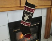 READY TO SHIP Red, Brown and Cream Knit Christmas Stocking