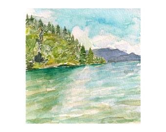 "Evergreen Lake: Original Mountain Landscape Watercolor Painting 4.5 x 4.5"""