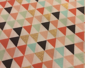 Gold Triangles Cotton Quilting - Fabric BTY