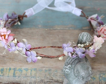 Lavender, Bridesmaide flower Crown, Purple, bridal headpiece, wedding flower crown, rustic head wreath, wedding headband, bridal hair