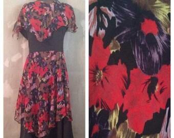 70% OFF Vintage 1970s Black Floral Sleeveless Dress M/L (e)