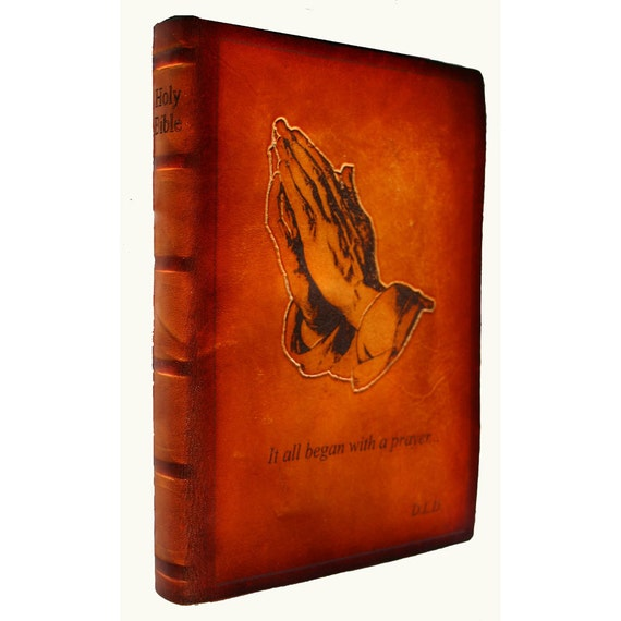 Praying Hands Personalized Leather Bible, KJV, NABRE, NIV
