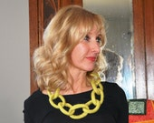 Felted Wool Link Necklace, Celery Green