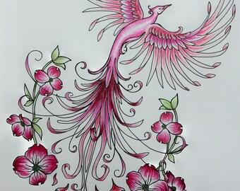 Pink Dogwood Phoenix Rising Original Art