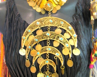 BRASS BELLY DANCE Necklace Egyptian 1980's