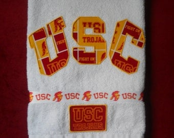 USC Trojans Hand Towel Bathroom or Kitchen, Grill Towel, Bar Towel, Grad Gift