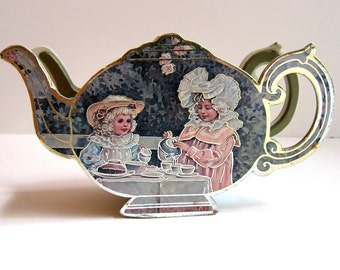 Vintage Miniature Teapot Shaped Container Box - used to hold tea purchased at Gertrude Ford in Poughkeepsie, NY